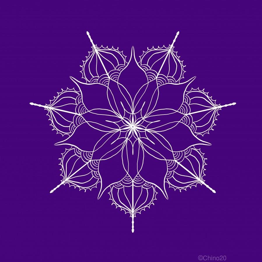 blue flower mandala  Print