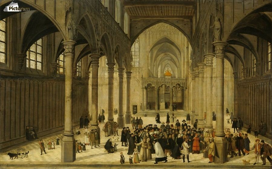 Church interior with Christ preaching to a crowd  Print