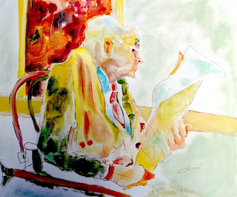 Old Man Reading Newspaper  Print