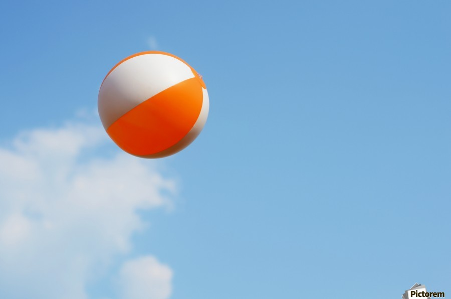 Beach ball on top of cloud  Print
