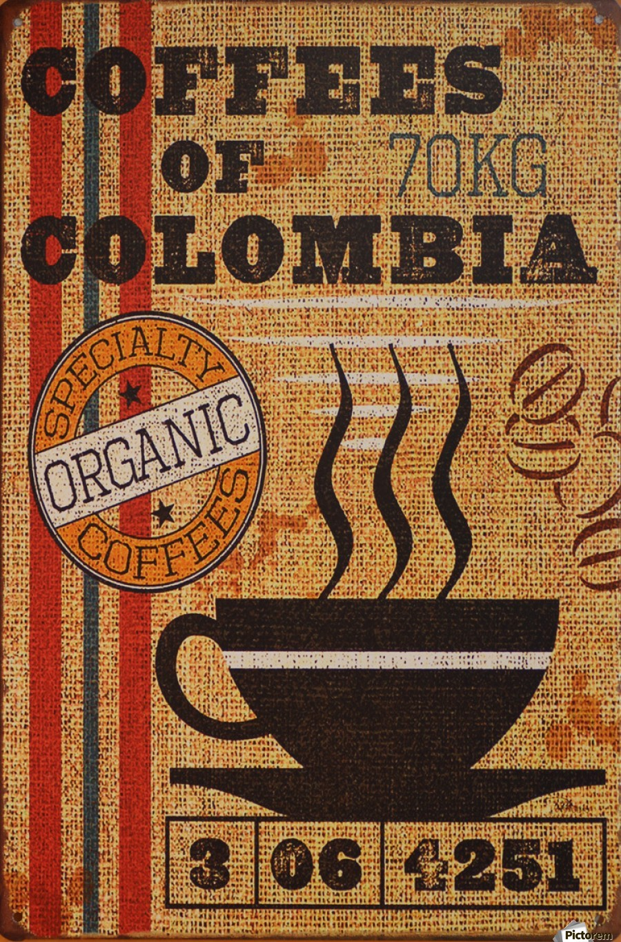 Colombian coffee vintage poster  Print