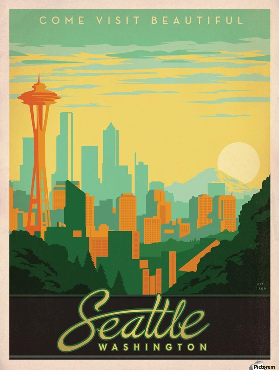 Come visit beautiful Seattle Washington travel poster - VINTAGE ...