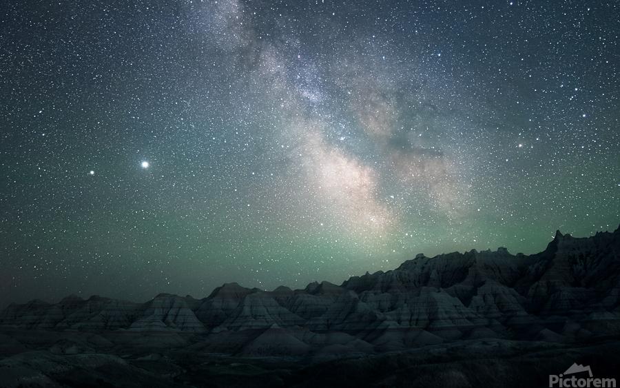 Milky Way Above The Badlands  Print
