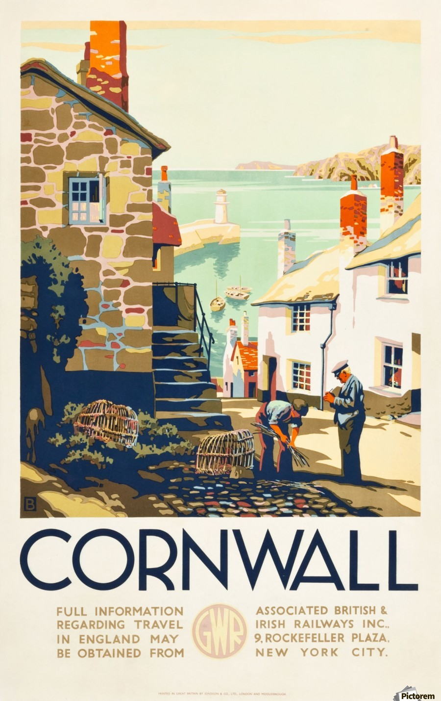 Cornwall england travel poster vintage canvas