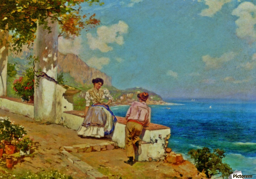 Courting couple in Naples  Print