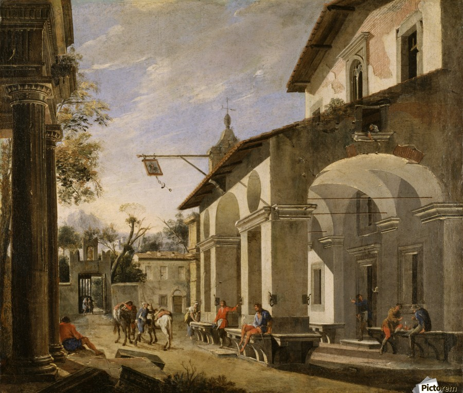 Courtyard of an Inn with Classical Ruins  Print