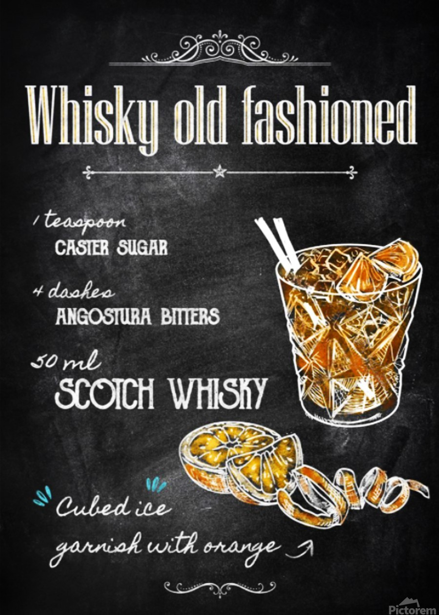 Whisky old fashioned  Print