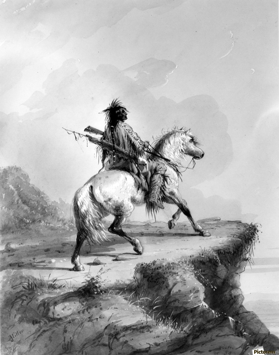 Crow Indian on the Lookout  Print