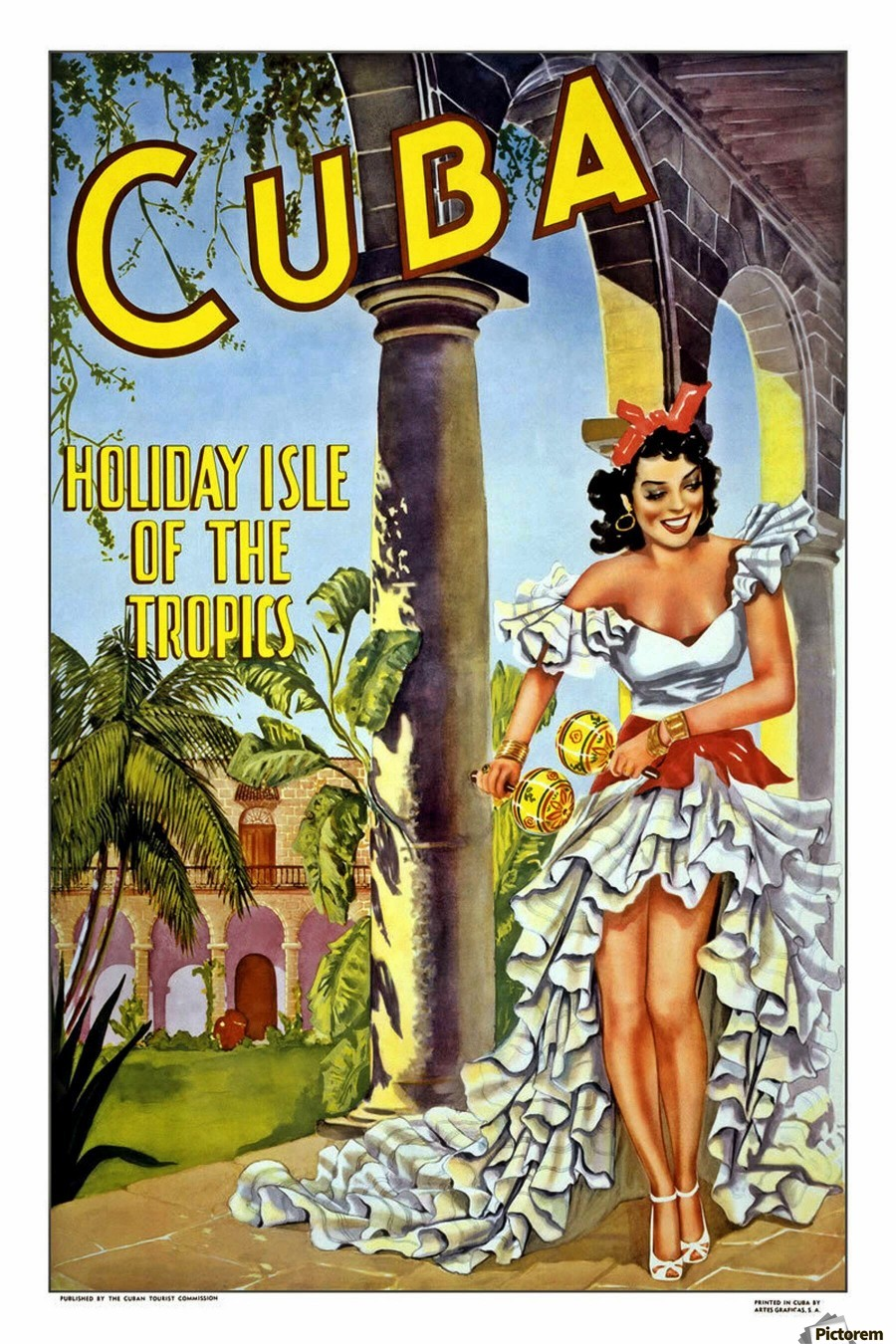 Cuba Holiday Isle of the Tropics poster  Print