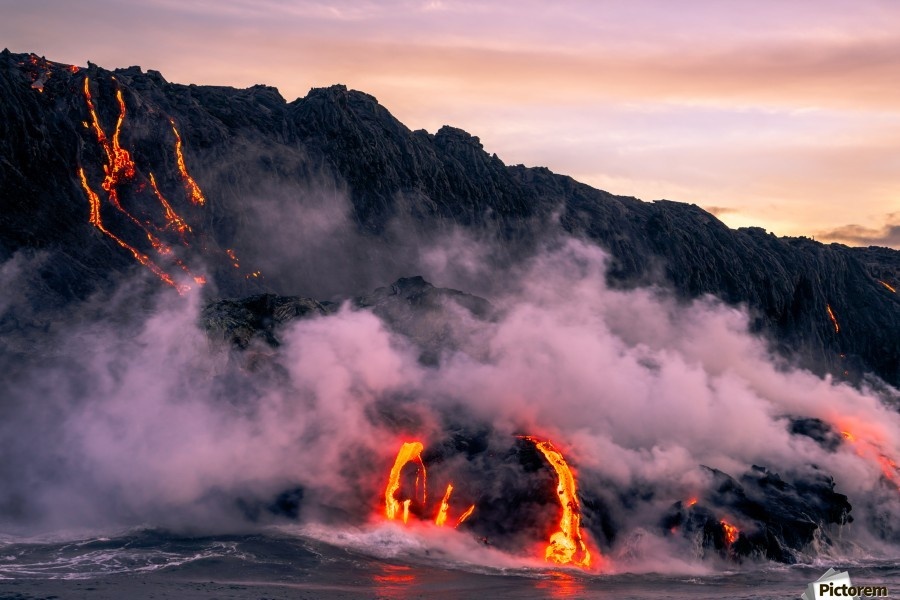Sunrise at the lava flow  Print