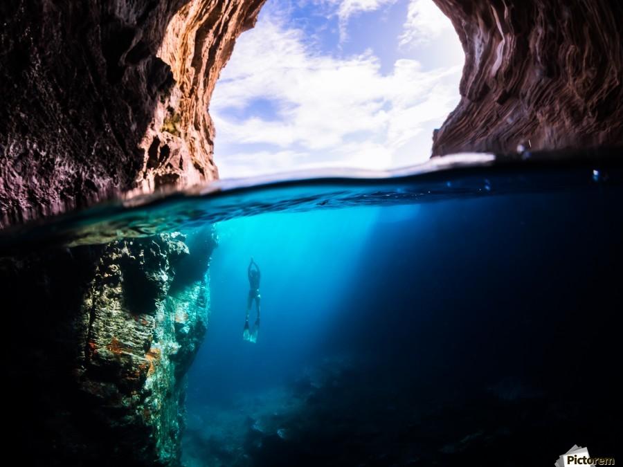 Cave diving  Print