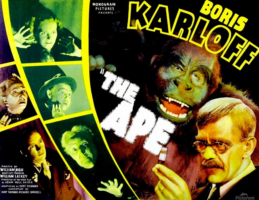 1940 Boris Karloff Horror movie poster print 2 The Ape