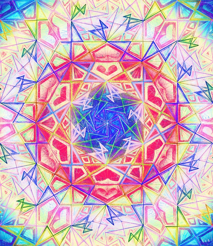 Psychedelic Art Hexagon Mandala Handdrawing  Print