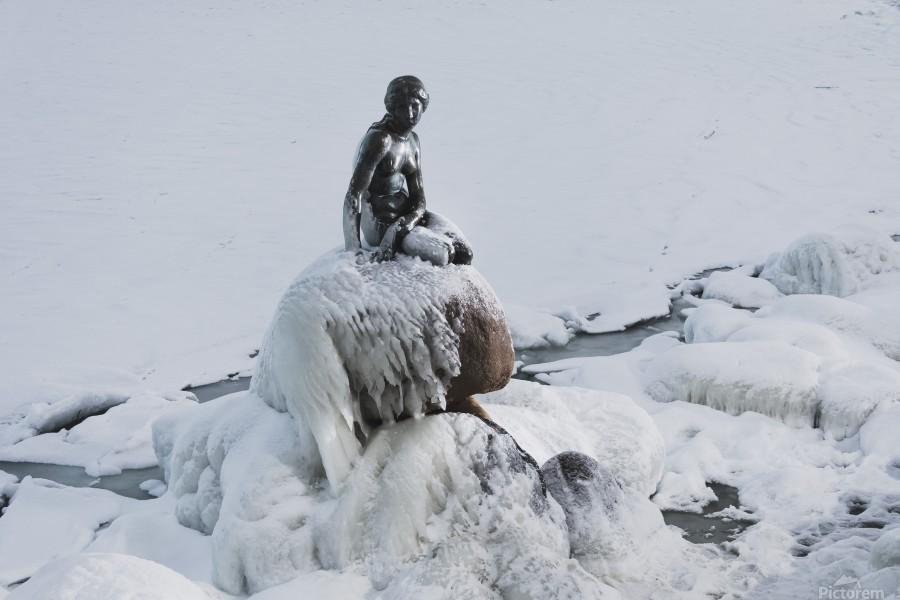 Frozen canal near statue of The Little Mermaid   Print