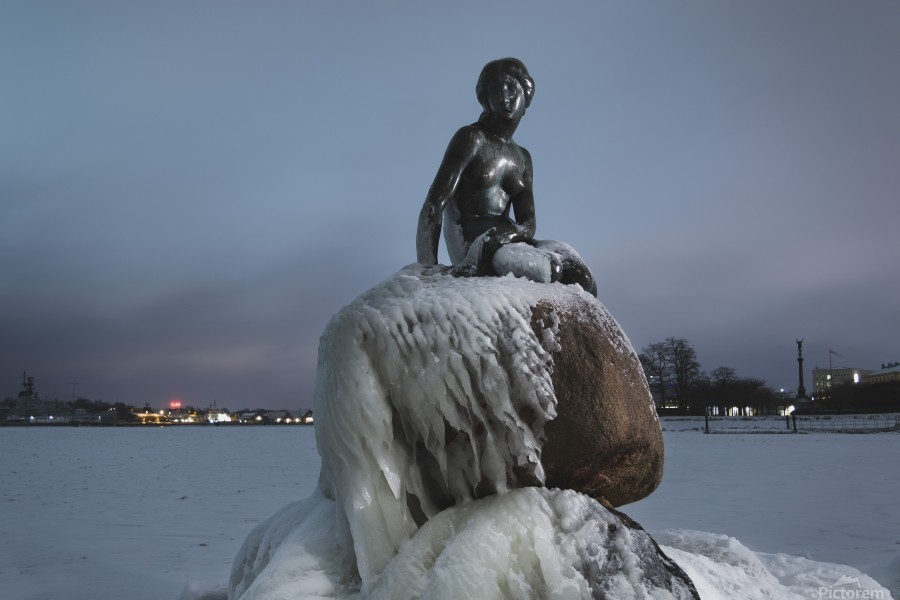 Frozen statue of The Little Mermaid  Print