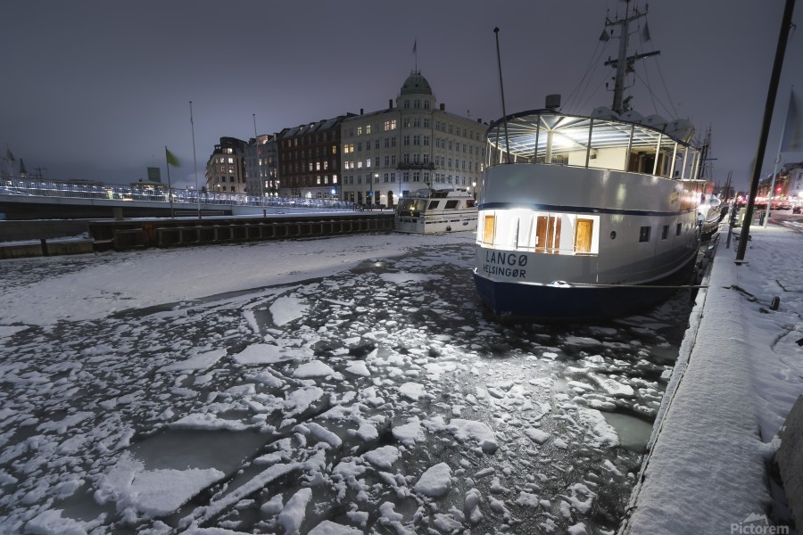 Frozen Nyhavn canal in winter  Print
