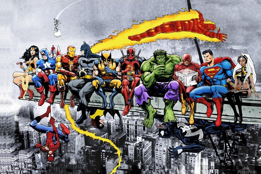 MORE Marvel DC Superheroes Lunch On A Skyscraper New Art Extra Heroes  Print