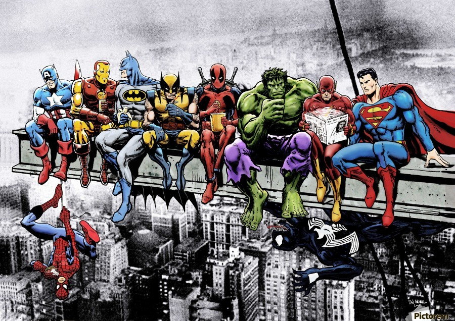 Marvel and DC Superheroes Lunch Atop A Skyscraper Featuring Captain America, Iron Man, Batman, Wolverine, Deadpool, Hulk, Flash & Superman  Print