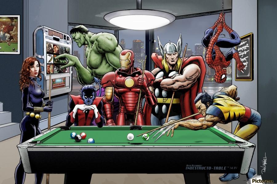 Afterhours: Marvel Superheroes Relax  Playing Pool featuring X-Men & Avengers, Wolverine, Spider-Man, Black Widow, Nightcrawler, Iron Man and Hulk  Print
