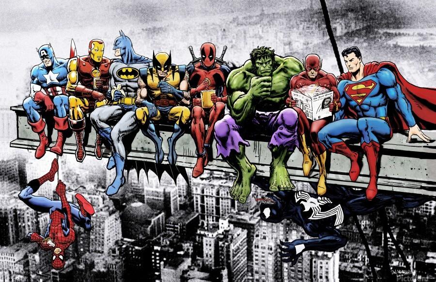 Marvel and DC Superheroes Lunch Atop A Skyscraper Featuring Captain America Iron Man Batman Wolverine Deadpool Hulk Flash & Superman  Print
