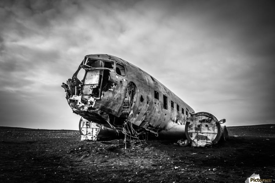 Plane wreck B&W  Print