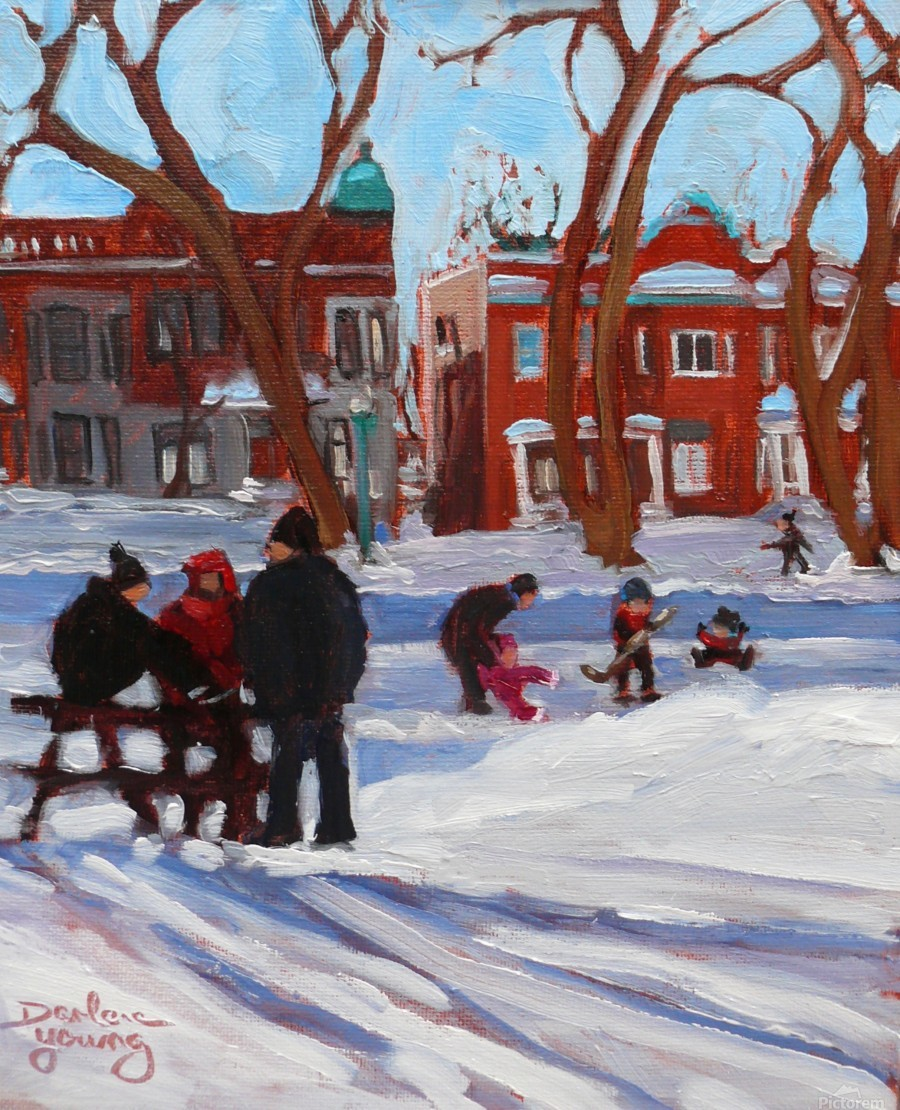 Learning to Skate at Outremont Park.  Print