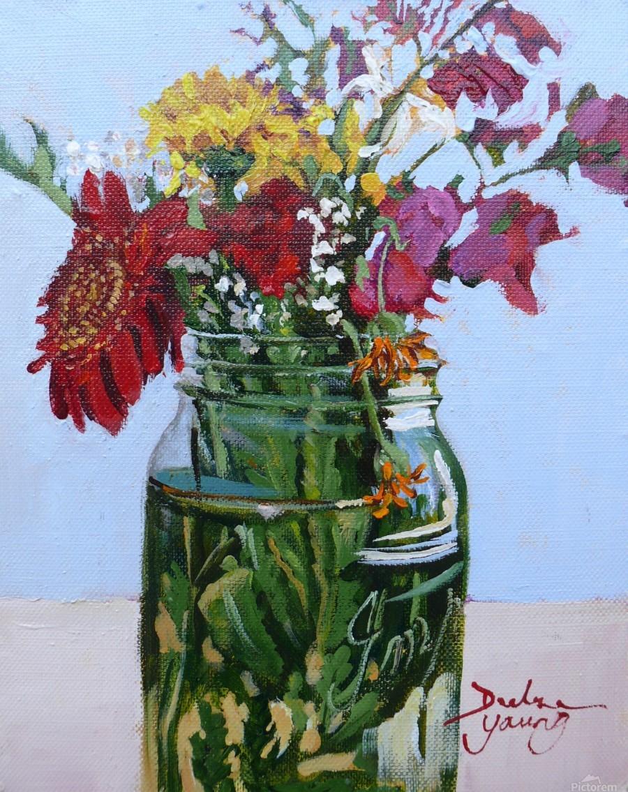 Flowers in a Mason Jar  Print