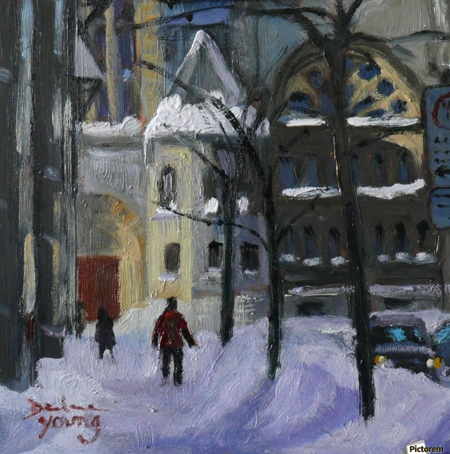 Montreal Downtown Scene, Drummond Winter  Print