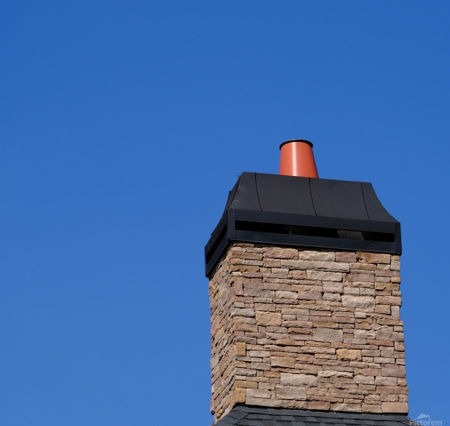 Stone Chimeny with Metal Cap  Print