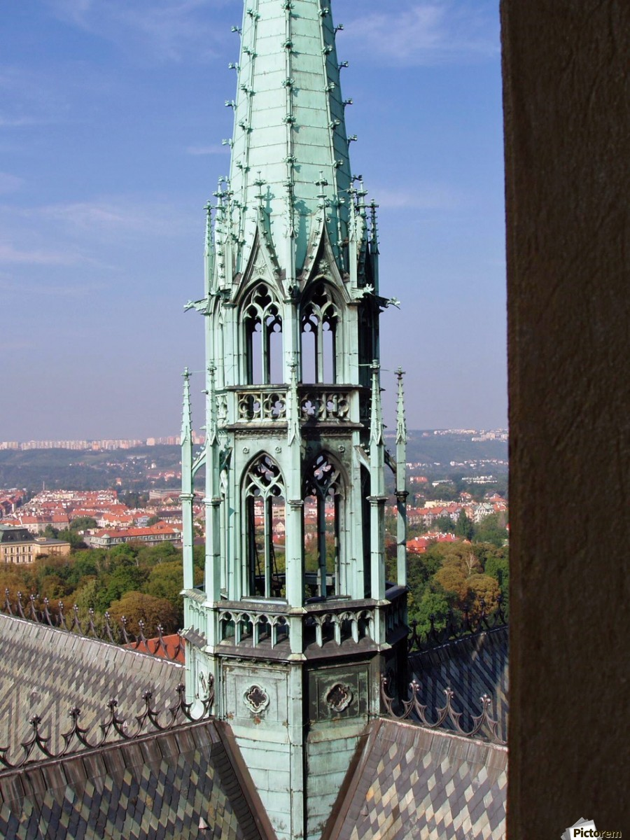 Atop The cathedral in Prague  Print
