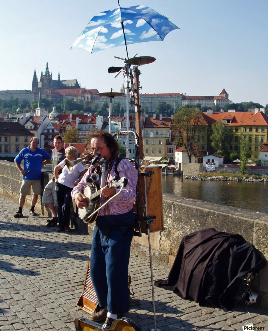 Charles Bridge Prague Street Musician  Print