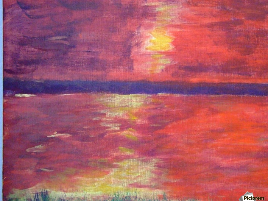 Red Abstract Sunset  Print