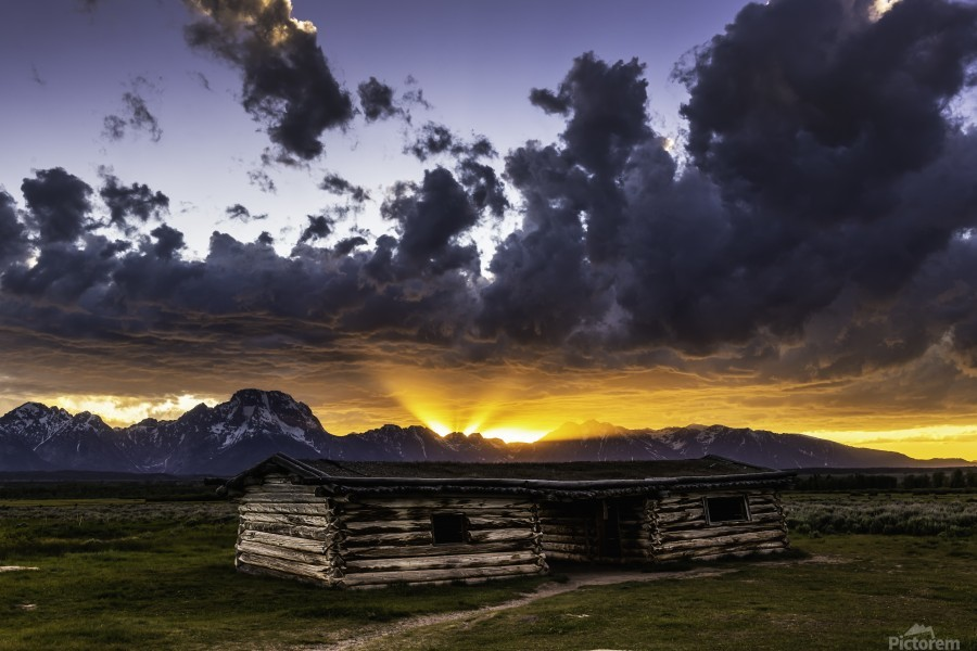 Pioneer Cabin sunset Grand Tetons  Print
