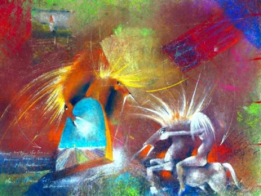 Fight of Dragon Horses  Print