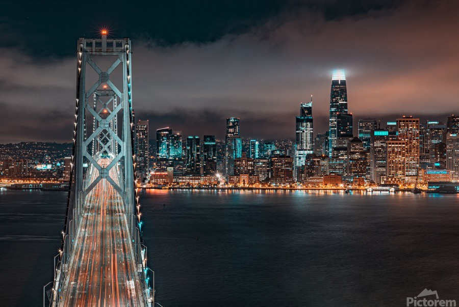 San Francisco Skyline at Night With The Bay Bridge  Print