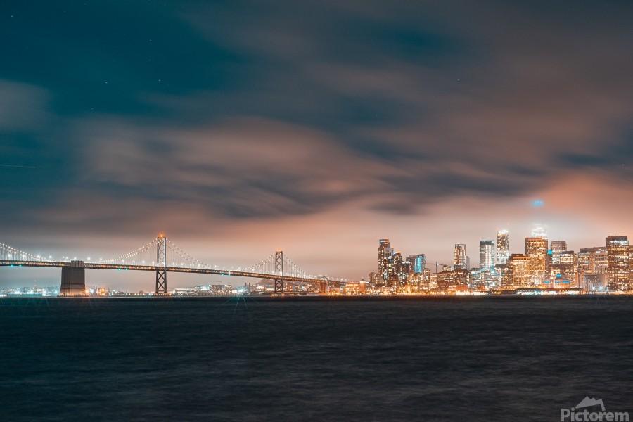 Cloudy San Francisco Night Skyline  Imprimer