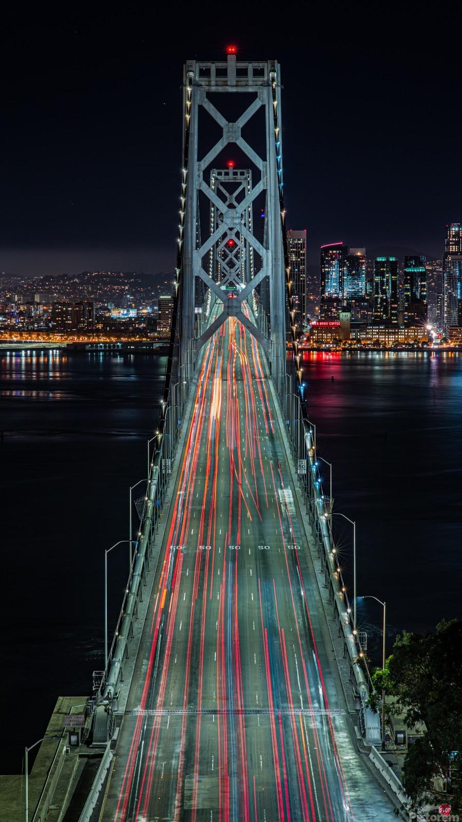 Oakland - San Francisco Bay Bridge at Night  Print
