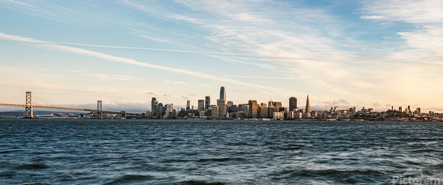 San Francisco City Skyline At Sunset  Print
