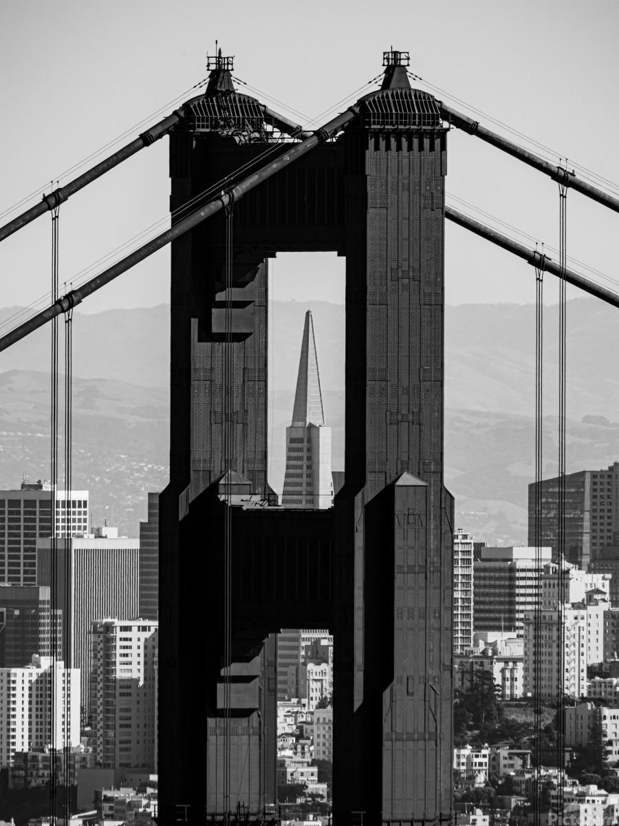 Threading the Needle - Golden Gate Bridge in Black and White  Print