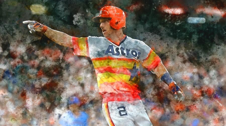 ALEX BREGMAN Water Color Print - Houston Astros print   Print
