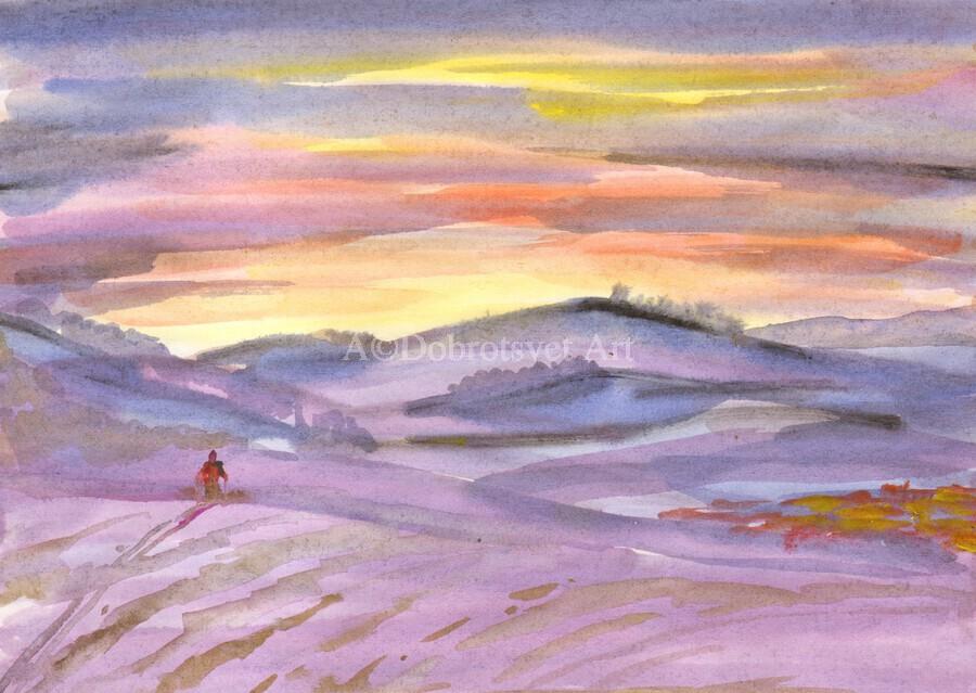 Sunset ski trip  Print