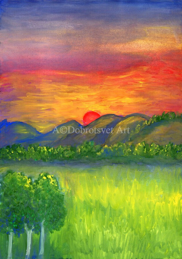 Mystical red sunset  Print