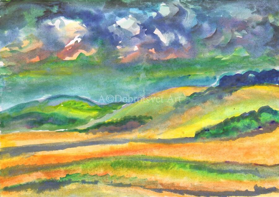 Landscape before a thunderstorm  Print
