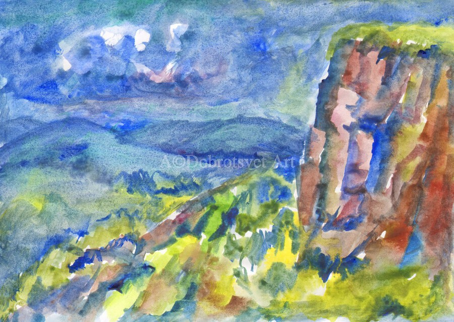 Summer landscape with cliff  Print
