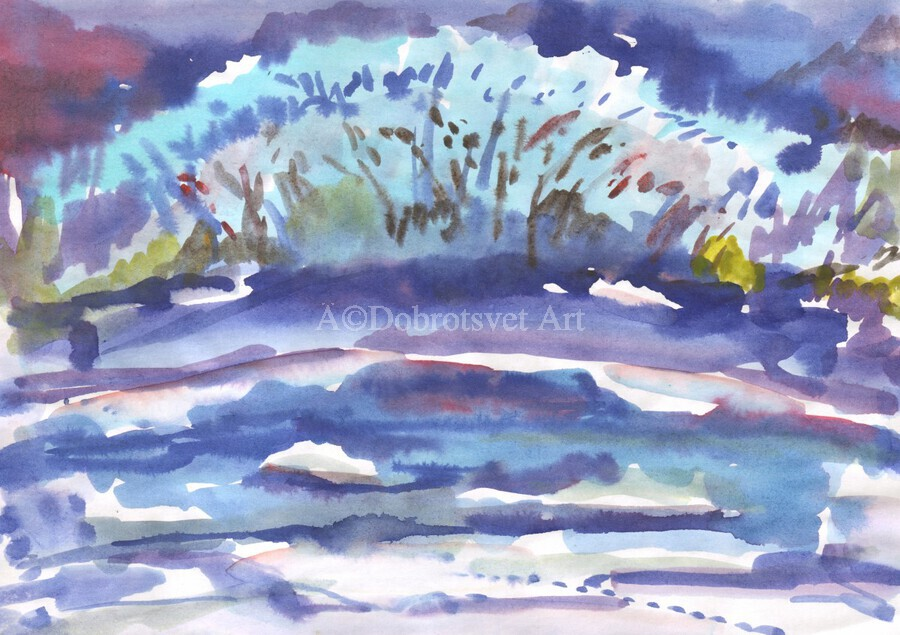 Winter bush by the river  Print