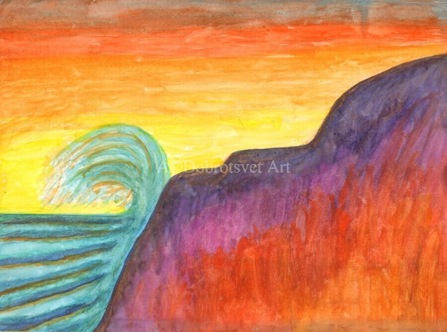 Sea surf at sunset  Print