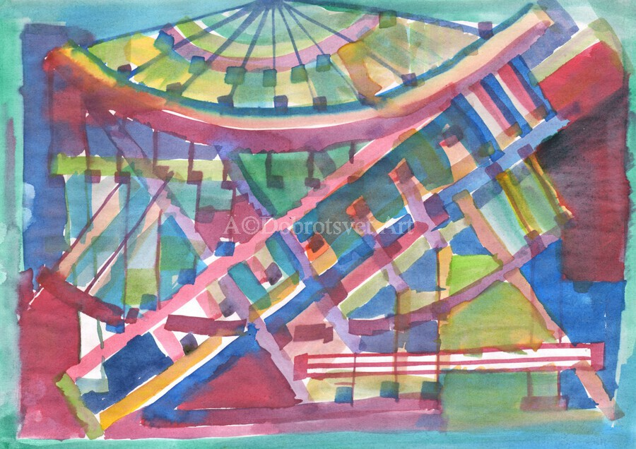 Architectural abstraction the facade of the building watercolor  Print