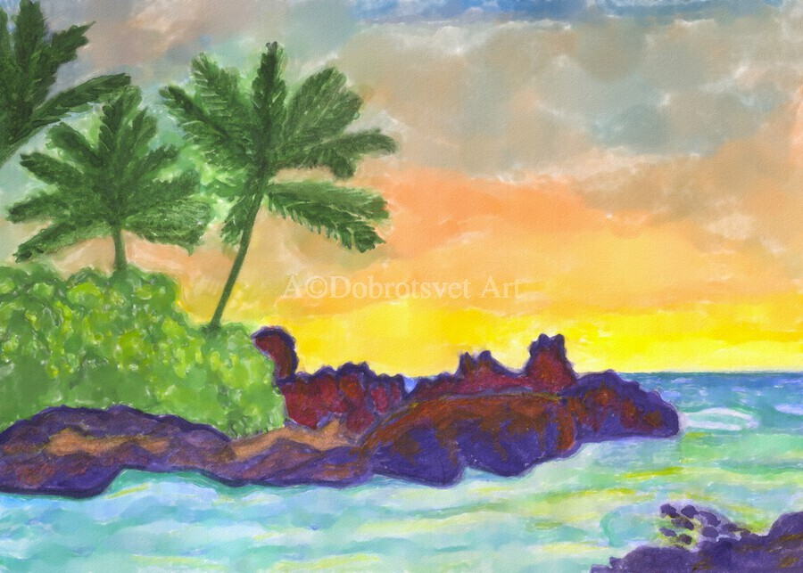 Tropical island in the ocean  Print