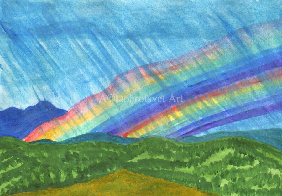 Double rainbow and rain in the mountains  Print