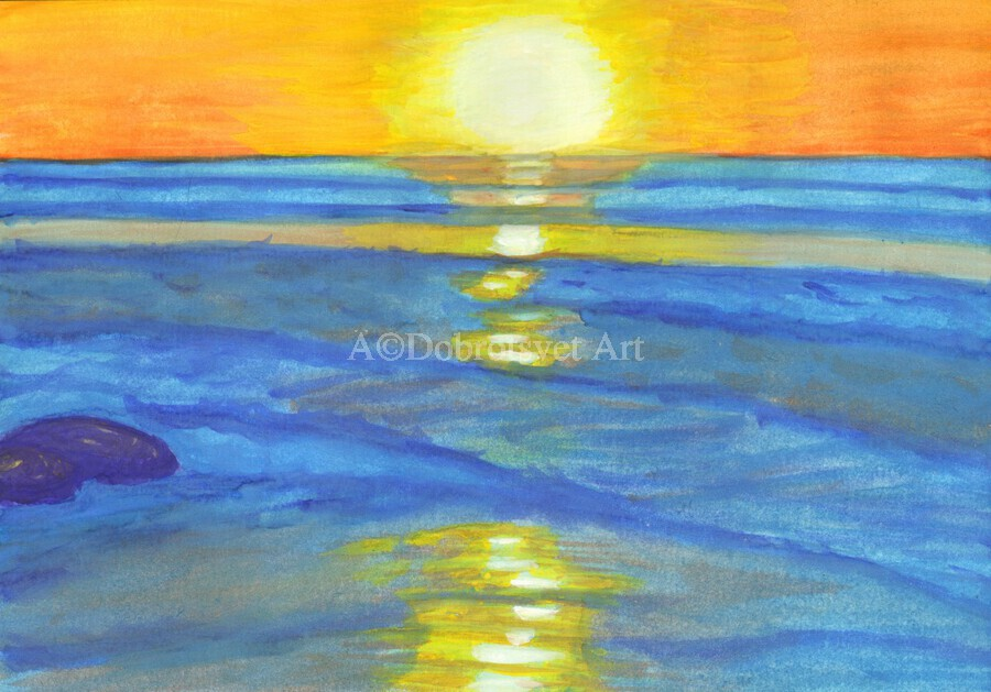 Sunset and ocean waves  Print